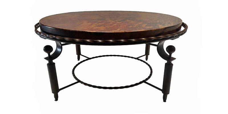 Natural hammered copper round coffee table with a dark rust brown finish model number 1265AAA