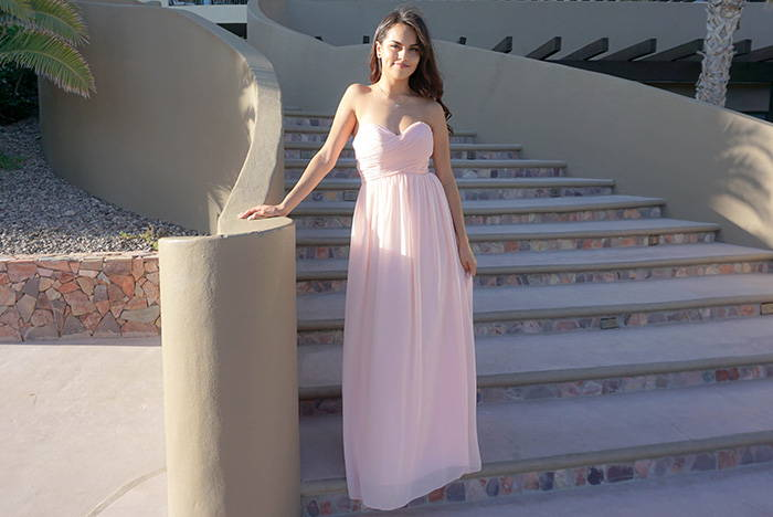 First Comes Love Blush Pink Strapless Maxi Dress