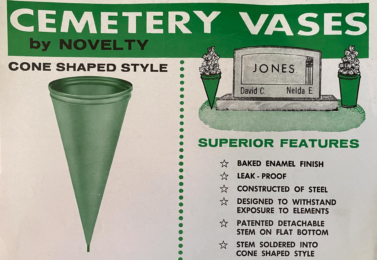 Original cone-shaped metal cemetery vase