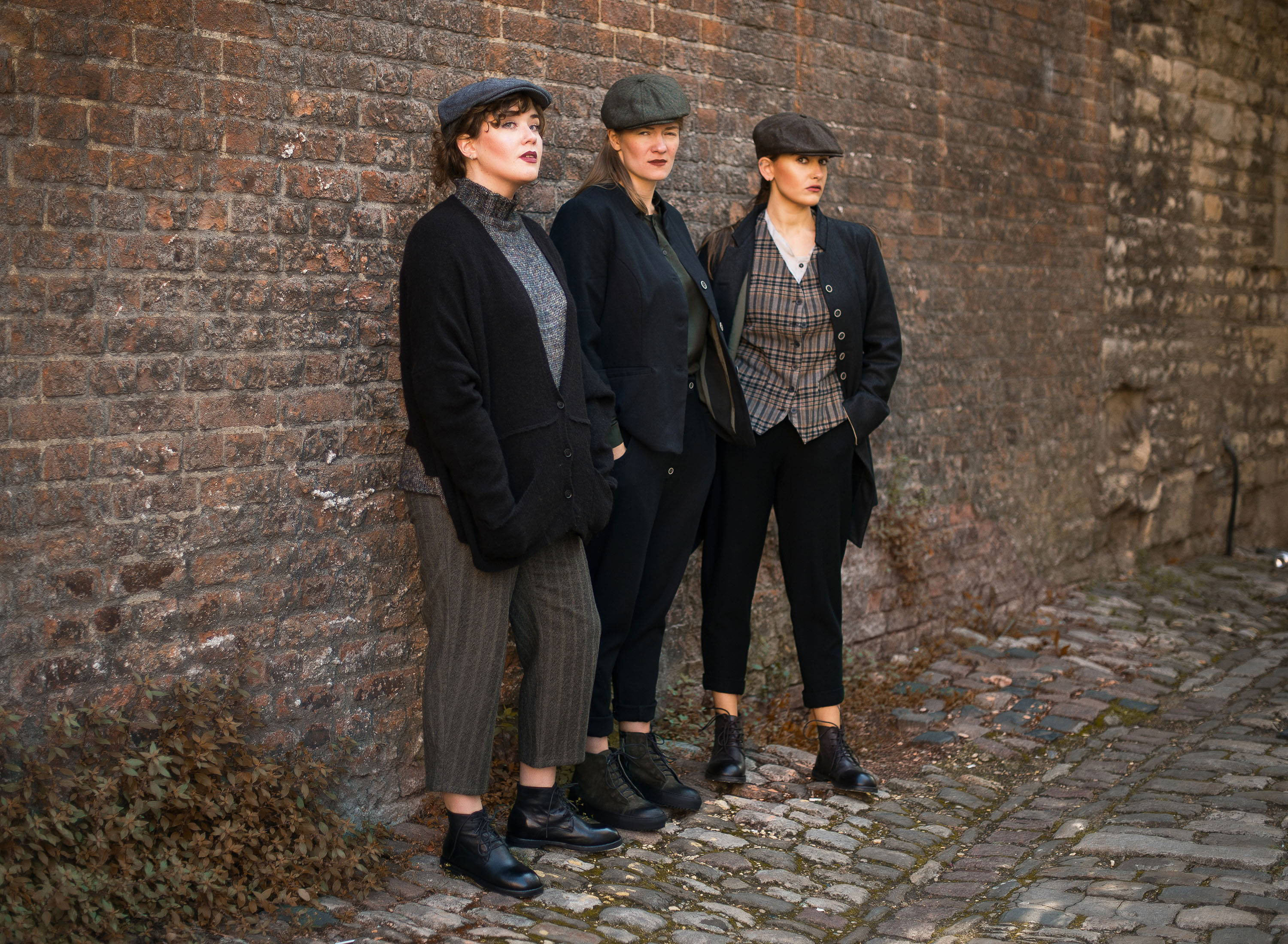Peaky blinders style outfits shot on the cobbled streets of Oxford