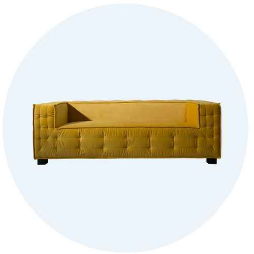 Image of yellow sofa with link to living room collection