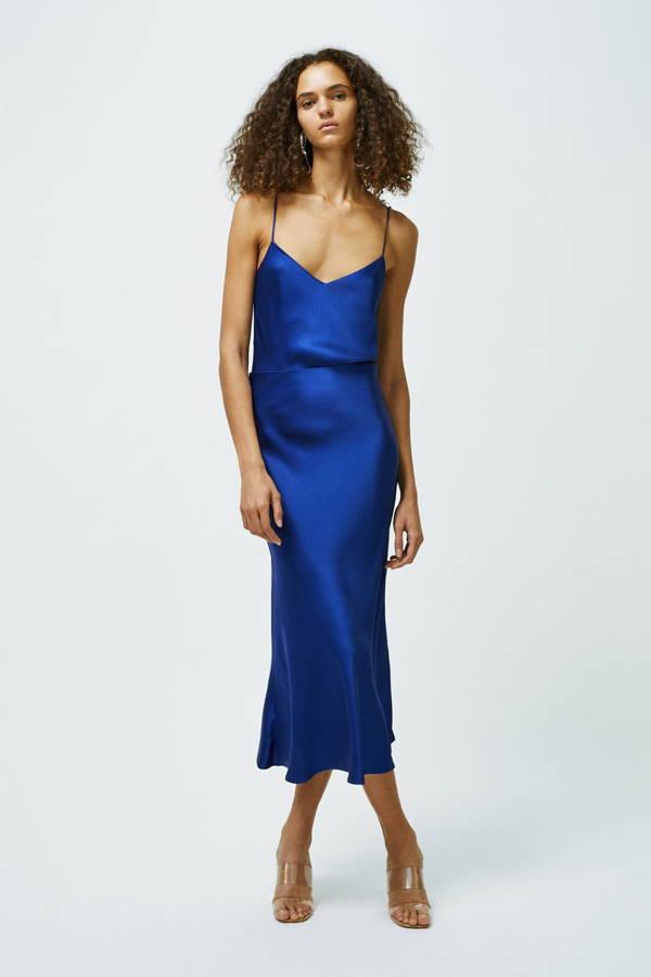 Galvan London Blue Satin Midi Skirt