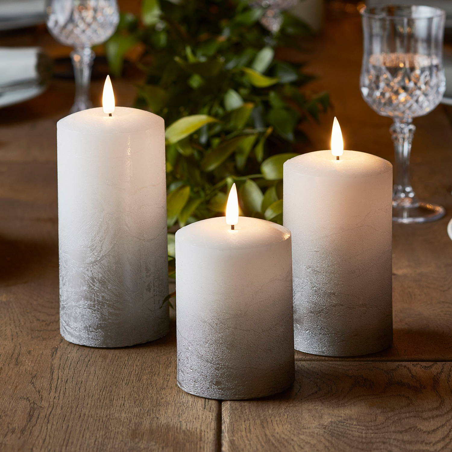 Grey ombre TruGlow candle trio on table
