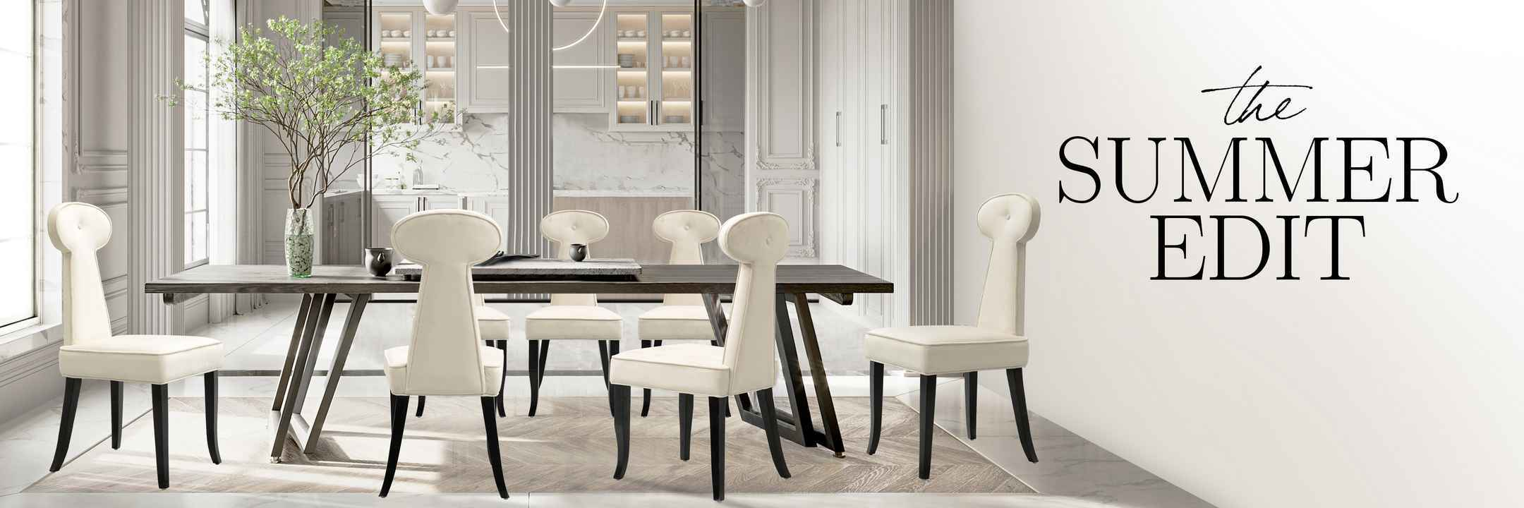 A dining table surrounded by dining chairs