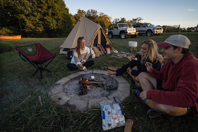 glamping dessert marshmallows campfire camping outdoors usa