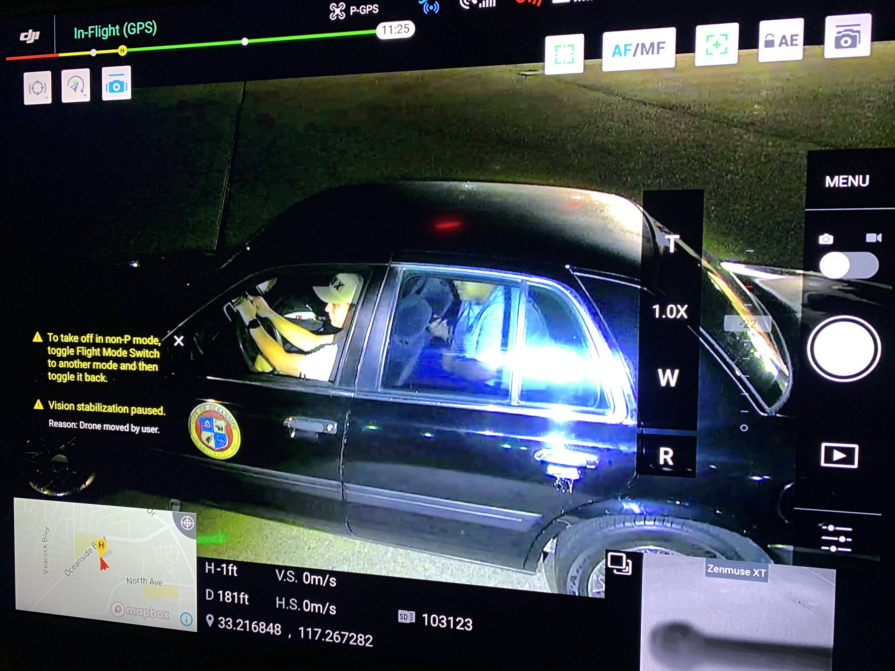 Footage from the Matrice 200 drone showing the FoxFury Rugo lights illuminating the inside of the vehicle.