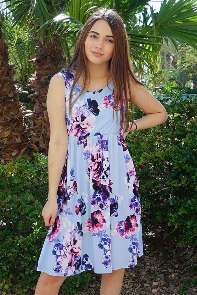 Make My Dreams Come True Blue Floral Print Midi Dress