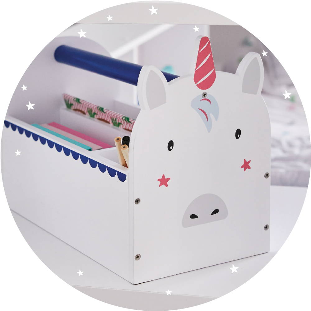 White carry caddy with unicorn face