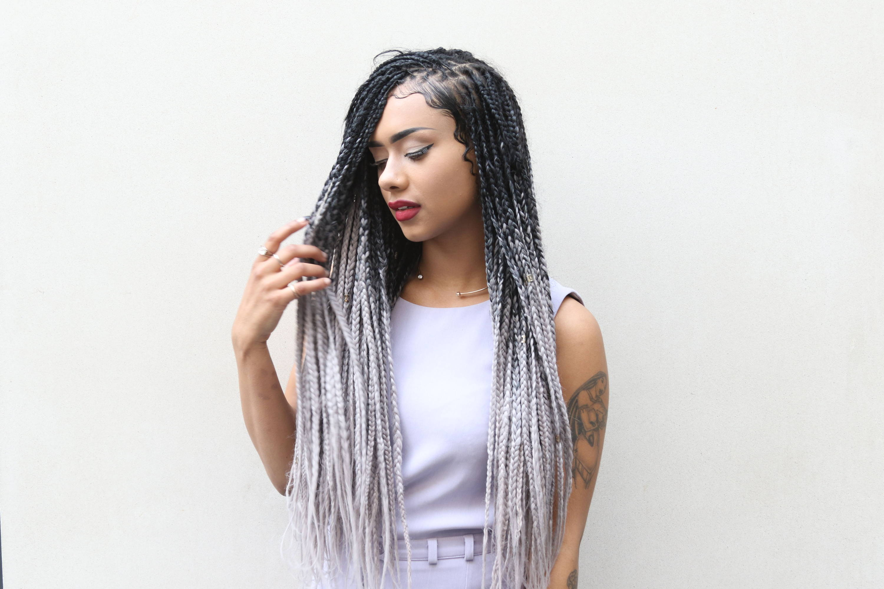 Ombre and Bold Color Box Braids