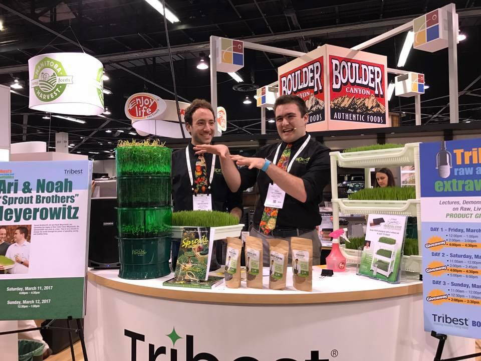 Ari (l.) and Noah (r.) demoing the Freshlife Automatic Sprouter at Natural Products Expo West 2017.