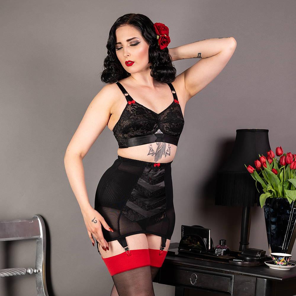 Lulu Noir black satin and lace vintage lingerie with girdle