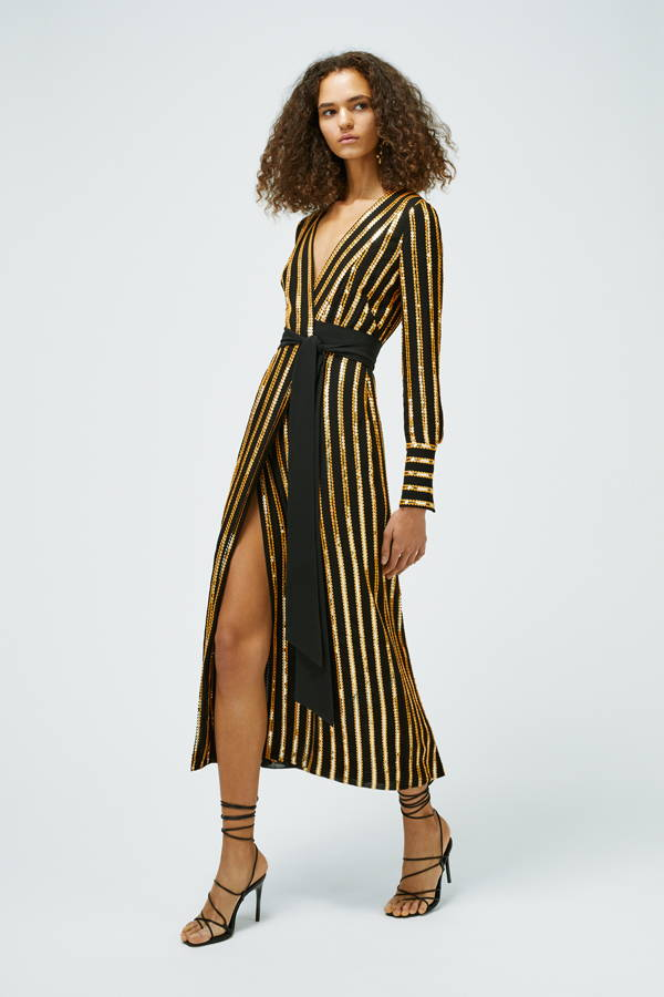 Galvan London Long Sleeves Sequins Wrap Black and Gold Dress