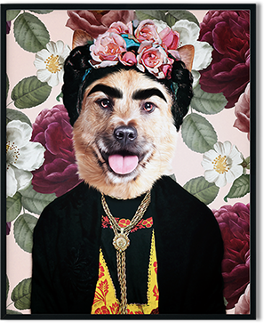 frida dog art renaissance art on framed print