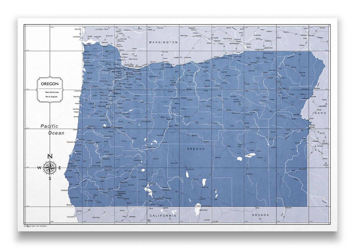 Oregon Push pin travel map color splash