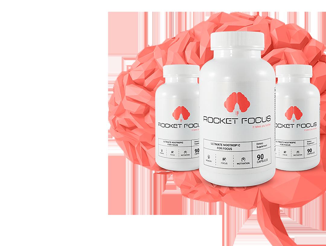 Three bottles of rocket focus brain performance supplement