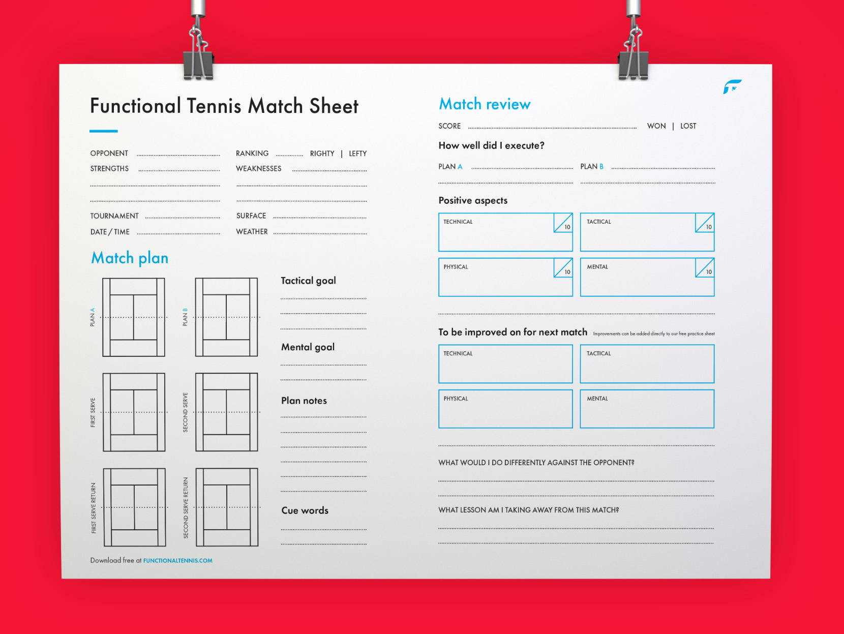 The updated Functional tennis match sheet