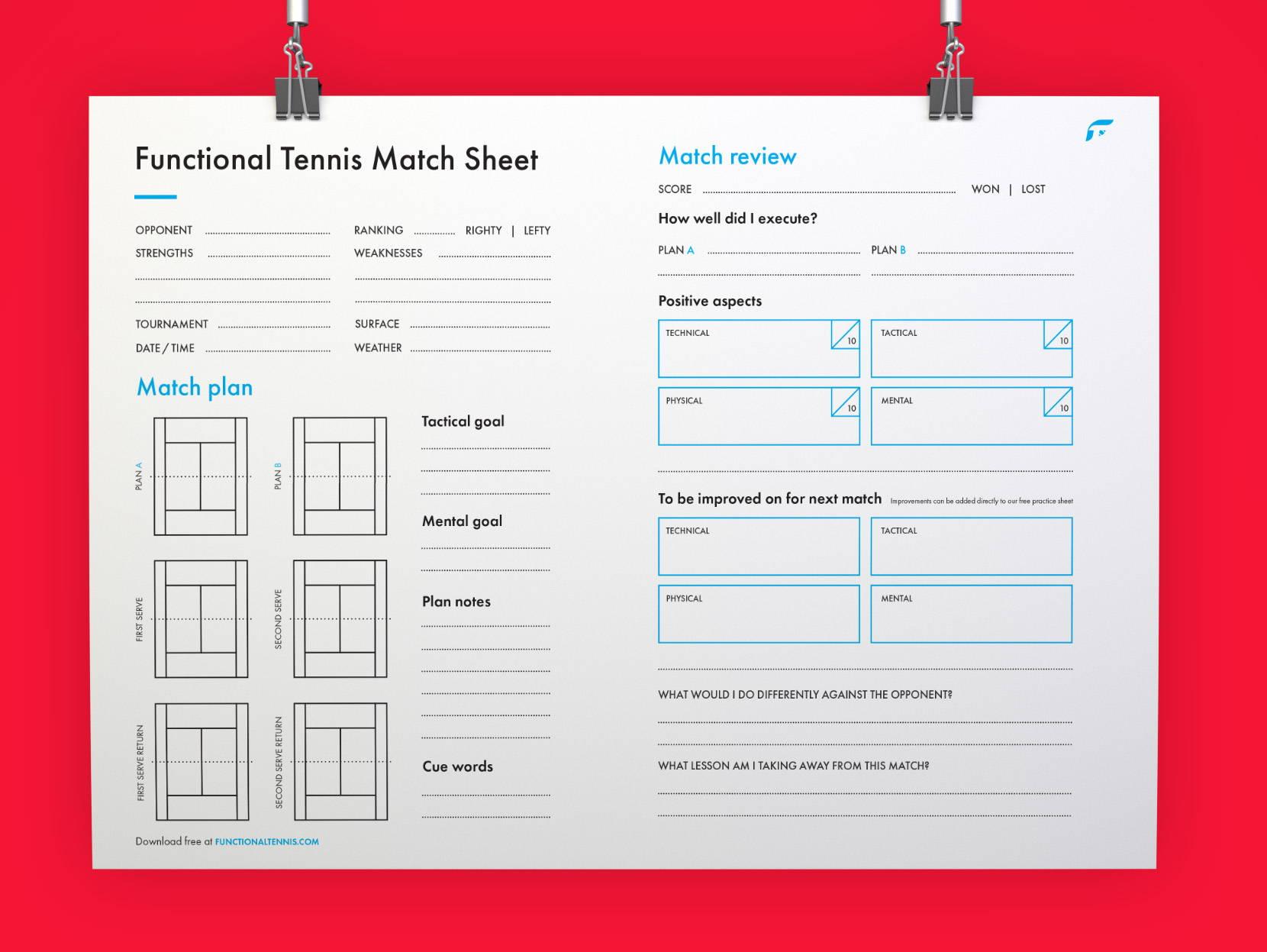 The updated Functional tennis match sheet