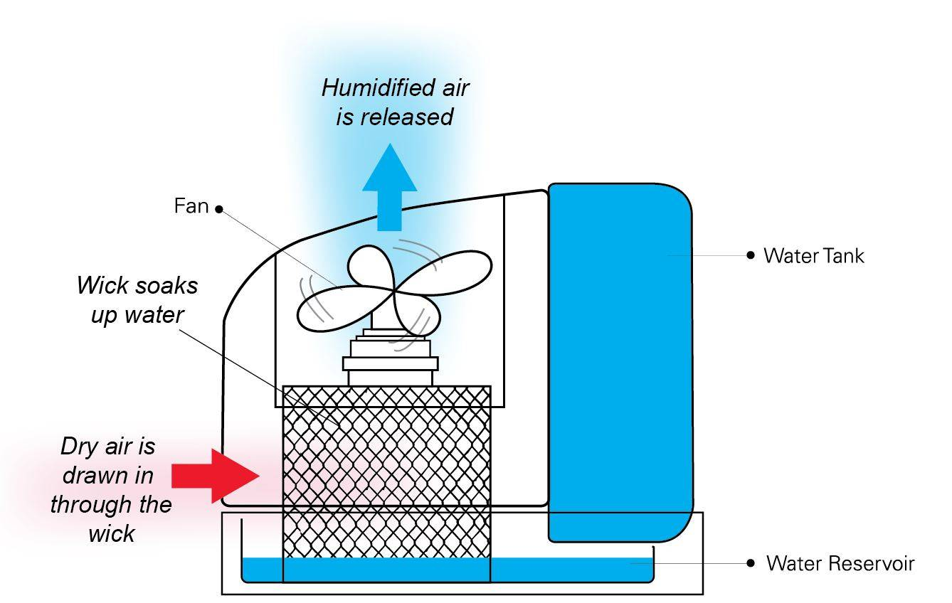 How an evaporative humidifier works