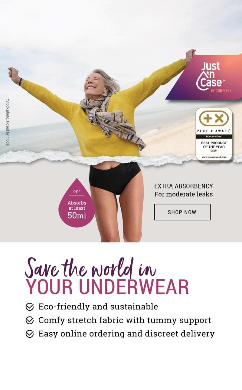 woman wearing Just'nCase extra absorbent pee-proof panties