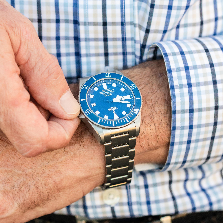 Man wearing a black bay watch