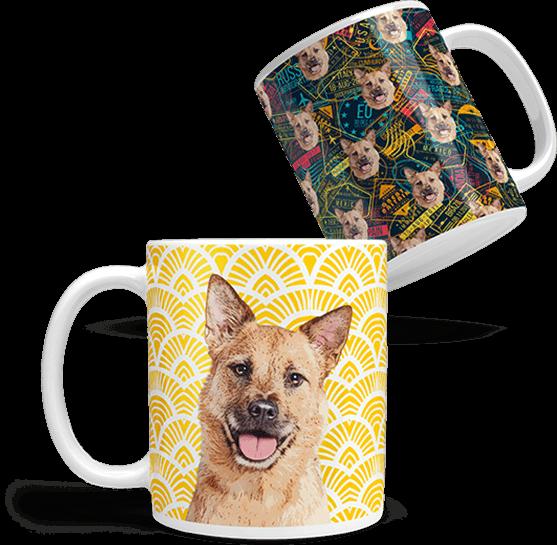custom dog art coffee mug