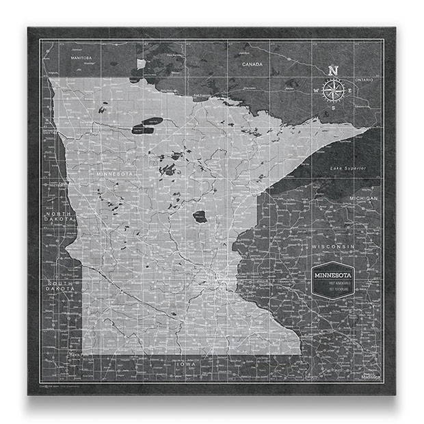 Minnesota Push pin travel map modern slate