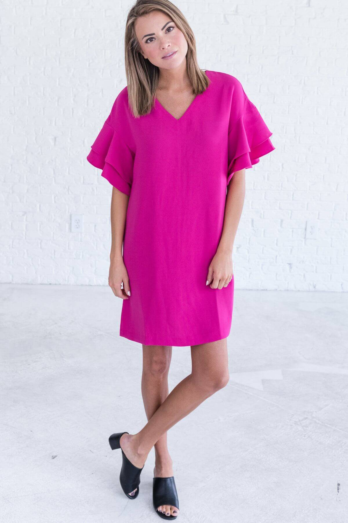 Hot Pink Fuchsia Mini Dress with Ruffled Sleeves Dresses Business Casual for Women