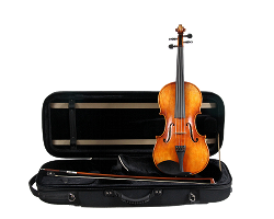 Violin, case, and bow