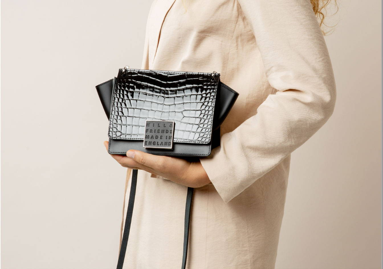 Hill and Friends Riley Bag in Black Patent Croc Emboss Leather - Made In Endgland
