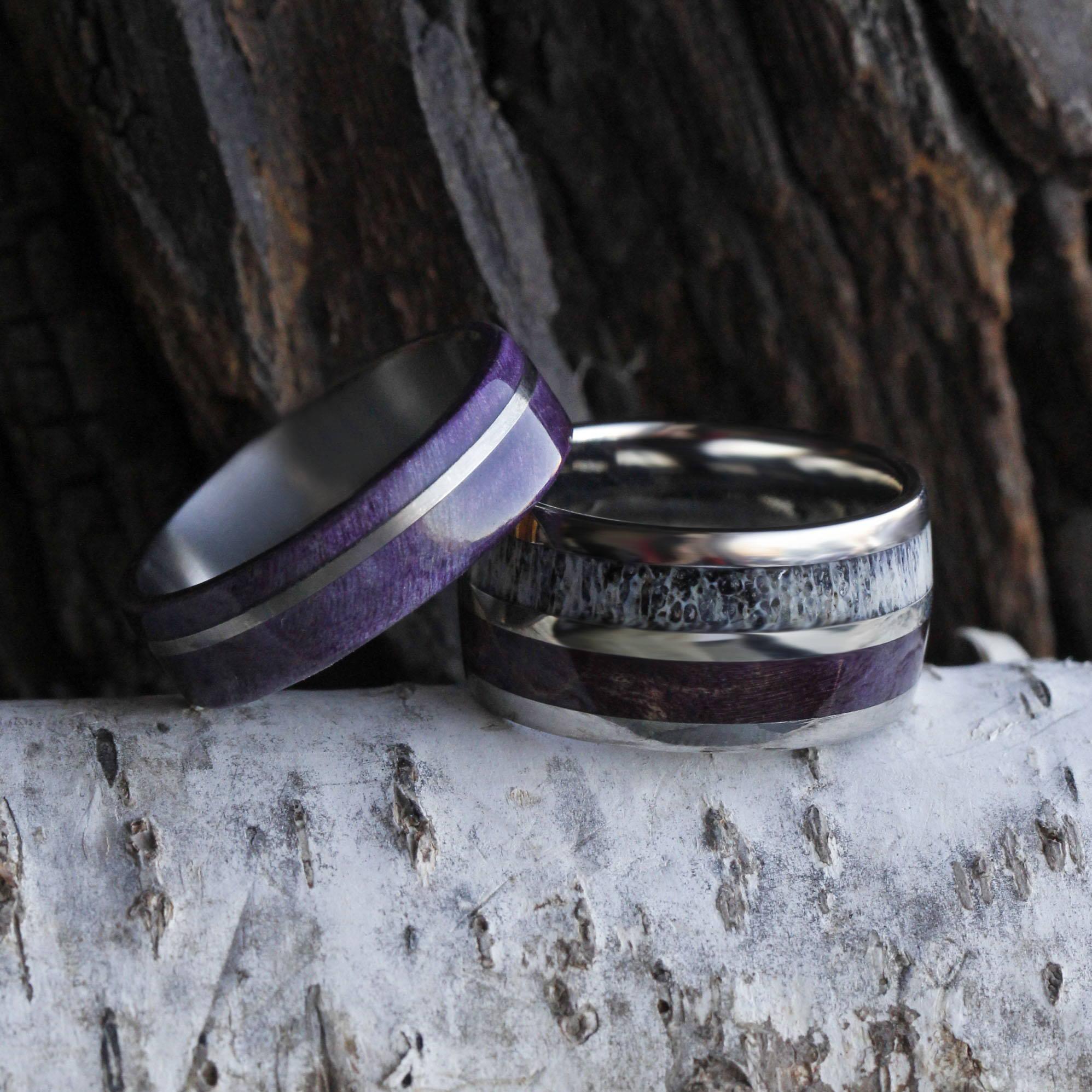 PURPLE BOX ELDER WOOD WEDDING BAND SET, TITANIUM RINGS DEER ANTLER