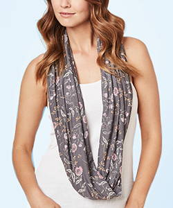 This is J bamboo circle scarf, Emmy Flower, charcoal grey.