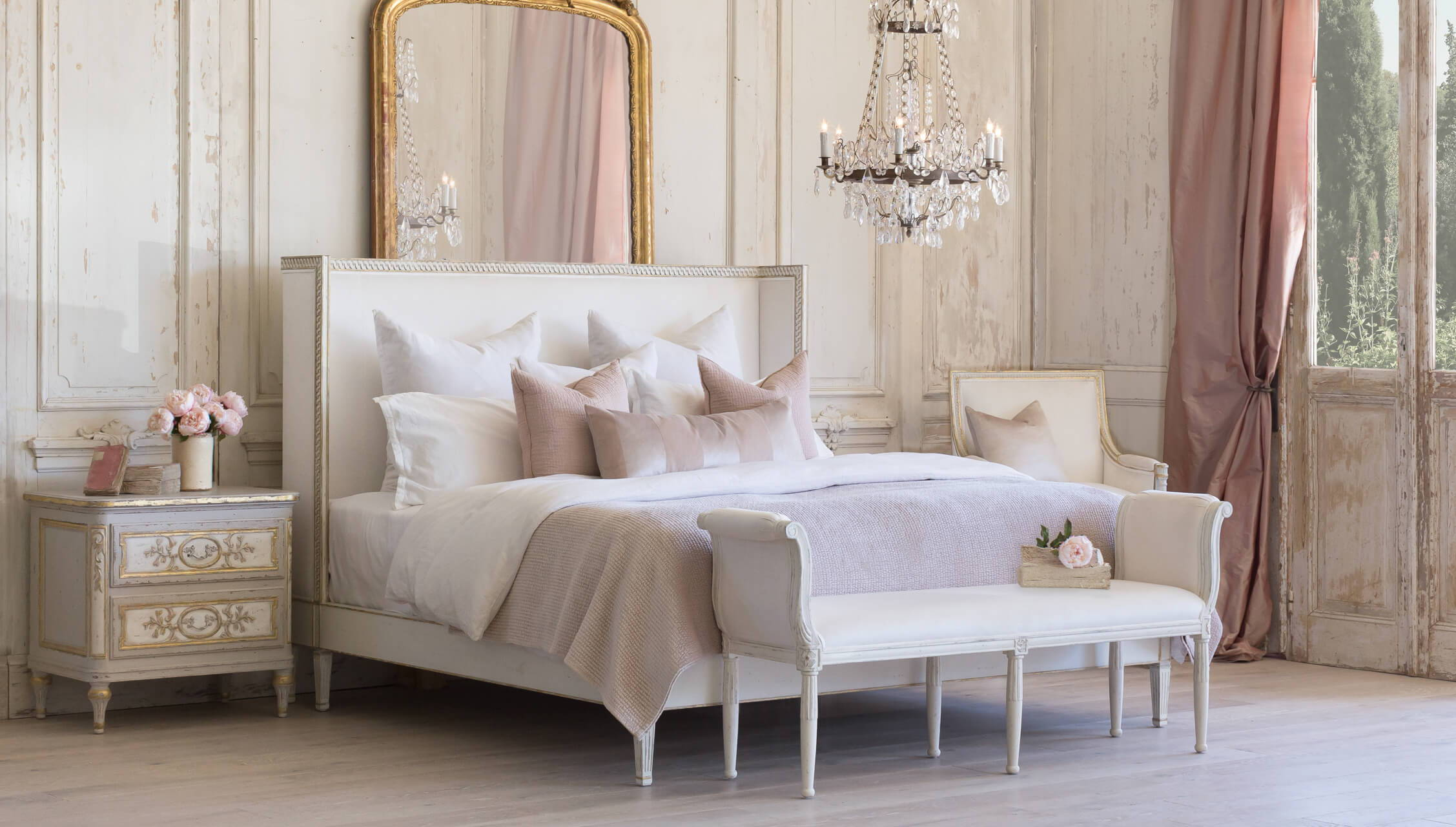 Eloquence® Cassia Bed in Ivory Velvet and Antique White With Gold Leaf Finish