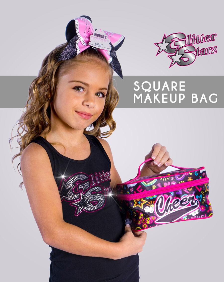 square makeup bag custom team sublimated pink cheer dance gymnastics
