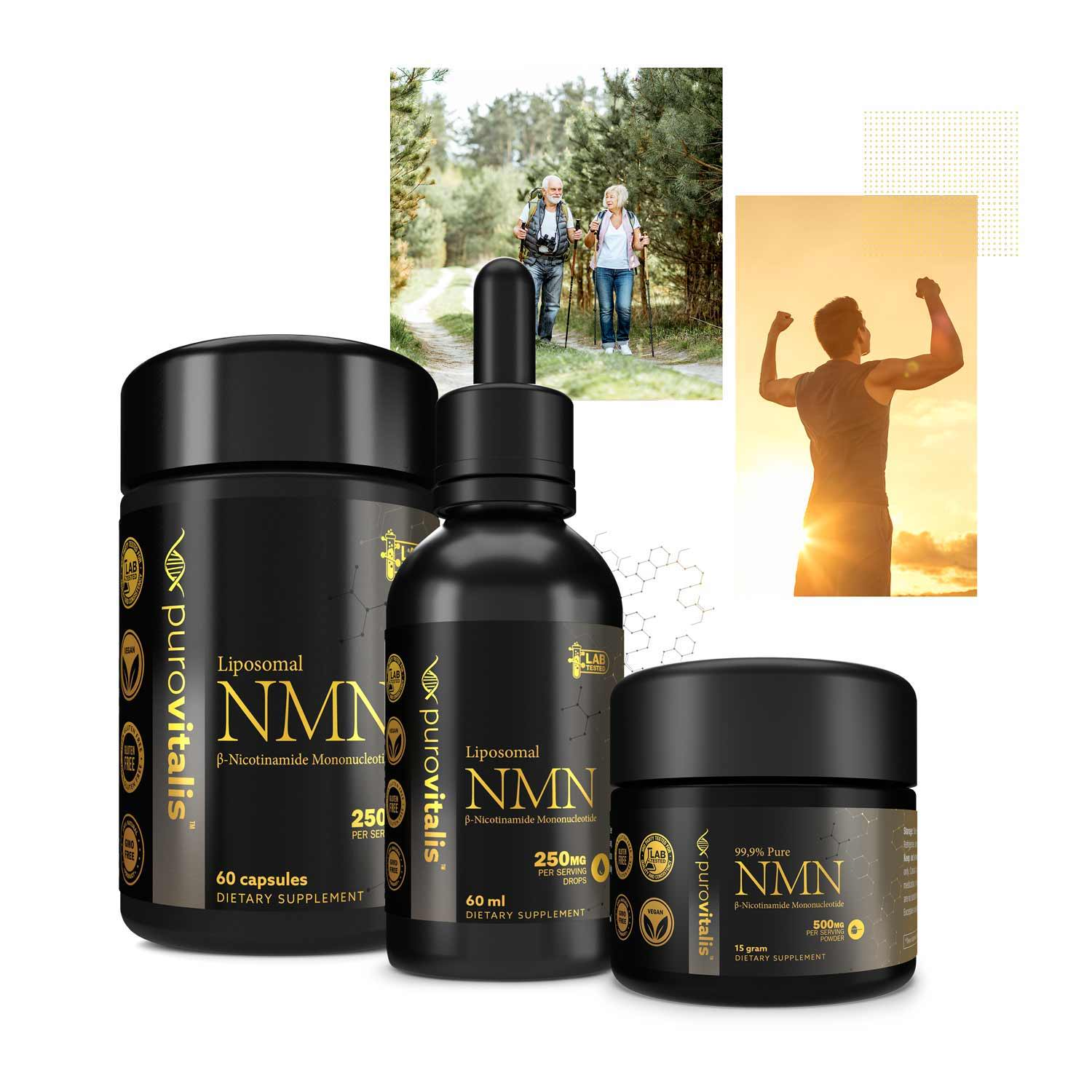 Displaying image showing the NMN product family, Liposomal NMN Drops & capsules and the Pure NMN Powder.