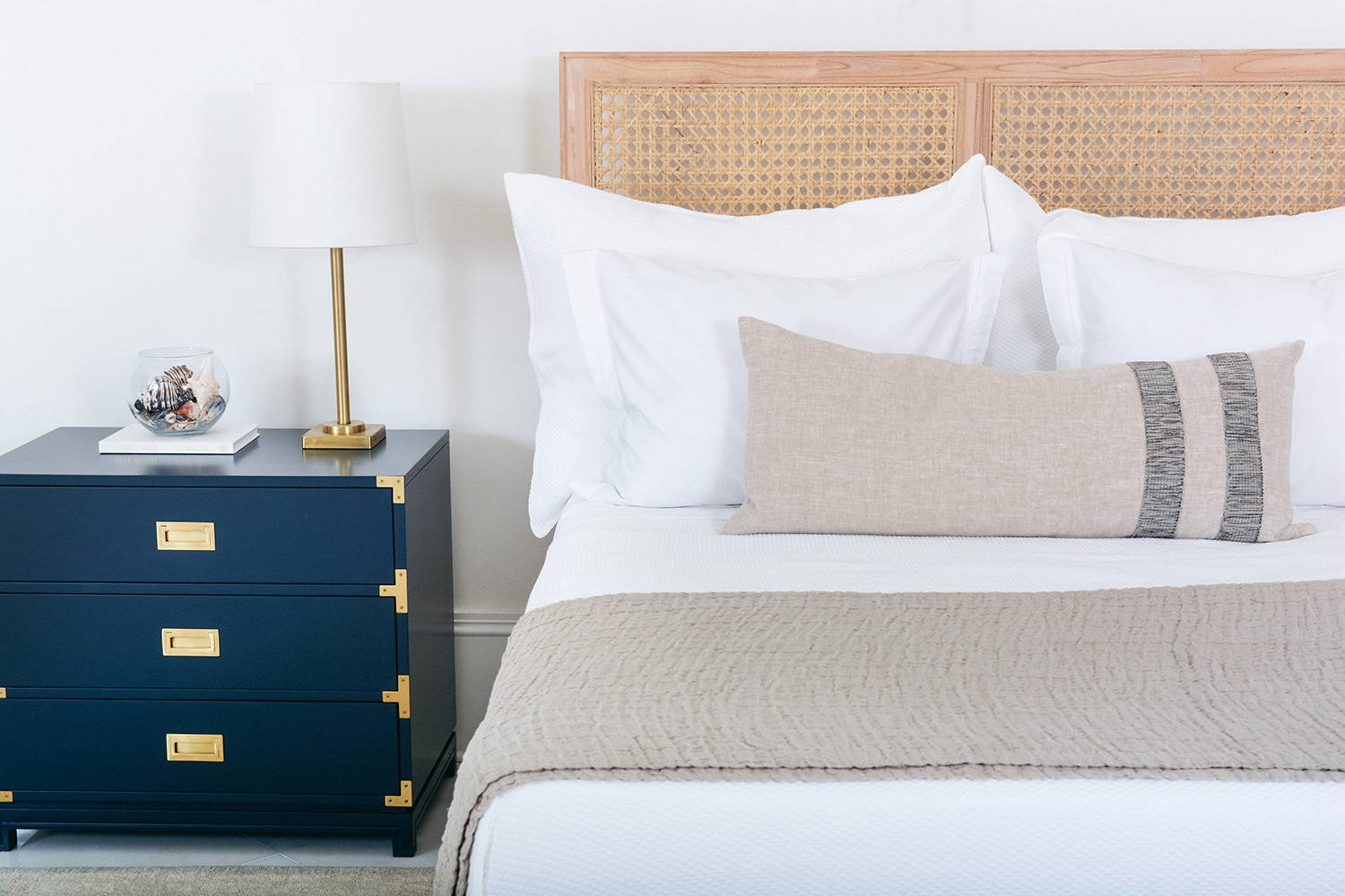 Ave Home | Louie Bed and Small Carlyle Campaign Dresser in Navy