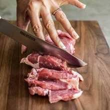 The surface of the cutting board provides the best soft porous straight grained surface that will not dull your knife blades