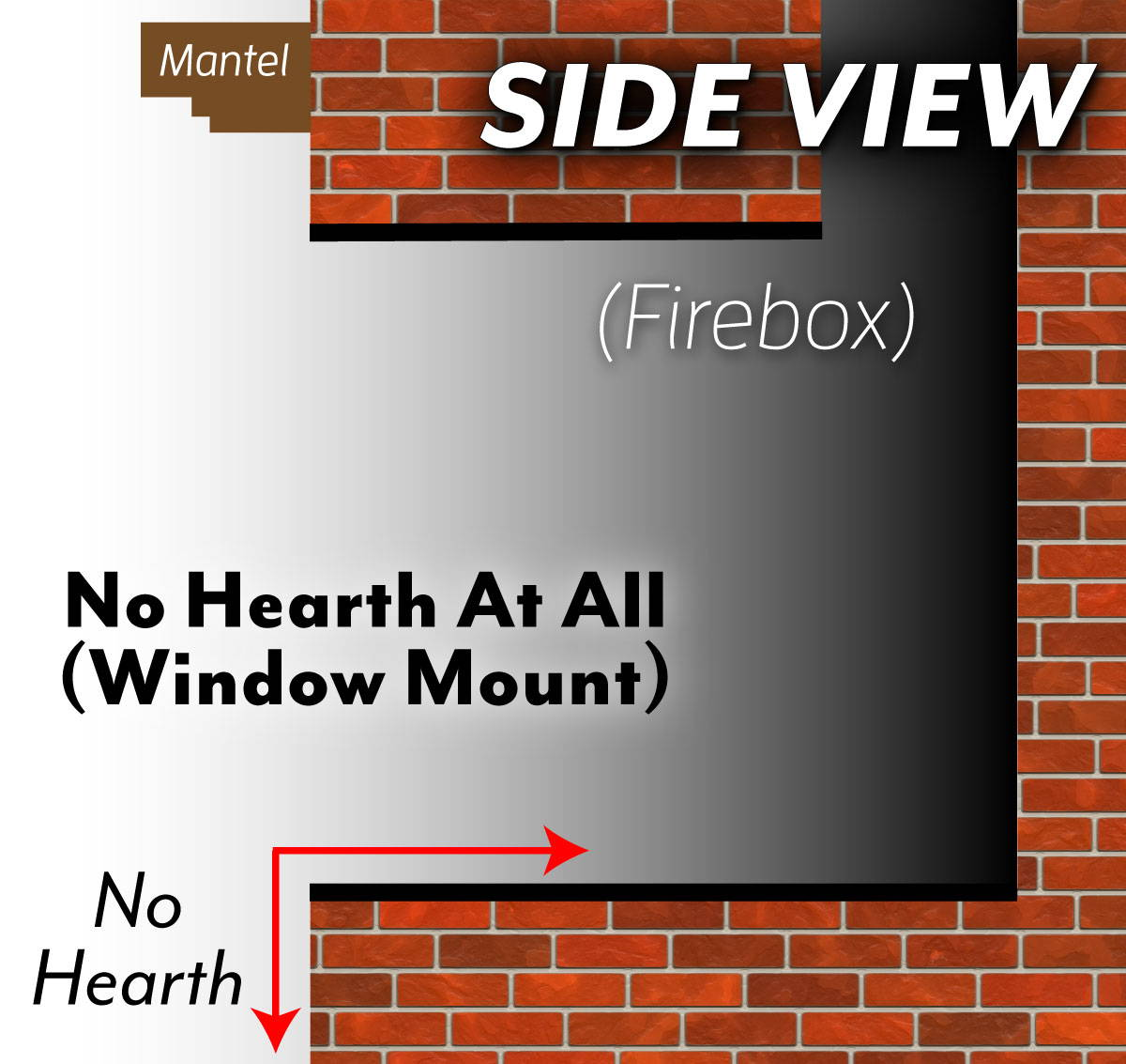 No Hearth - Floating Fire Box Side Diagram