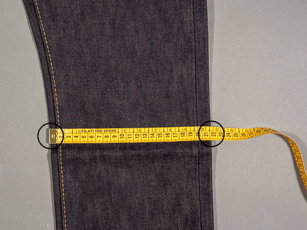 how to measure a jeans knee