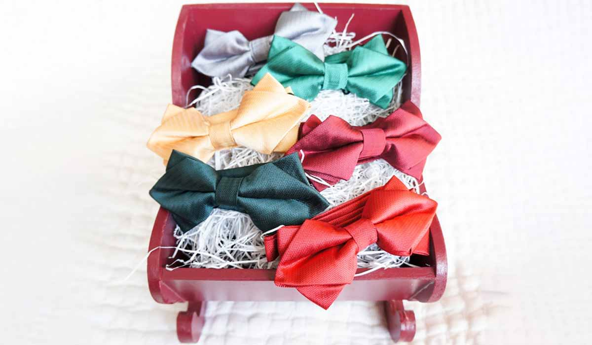 Herringbone holiday color bow ties displayed in a sleigh