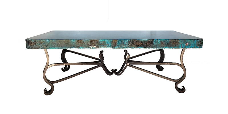Oxidized hammered copper rectangular coffee table with iron base finish model number 1242 AA