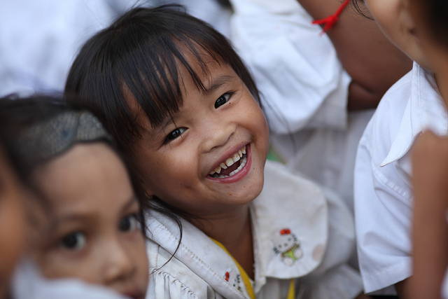 Little Girl at school with big smile
