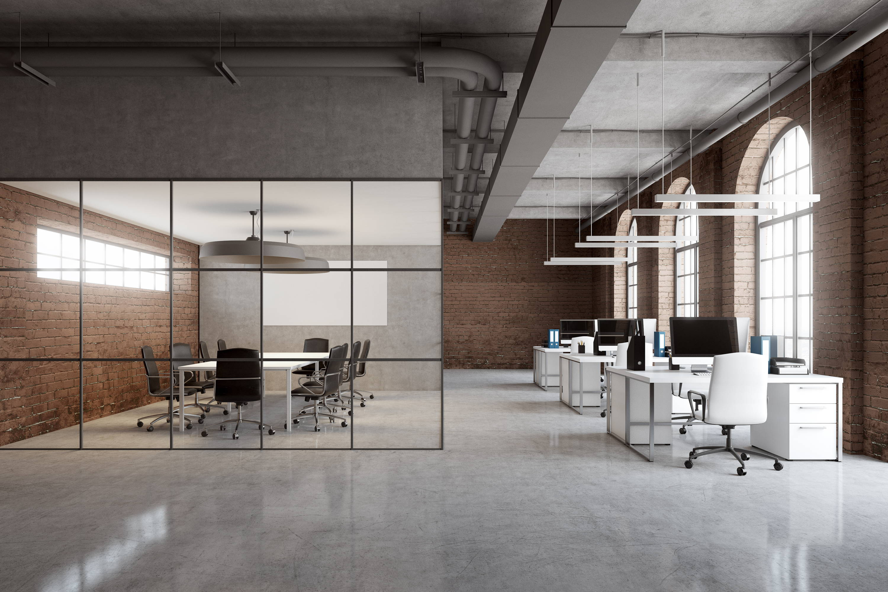 Interior office glass partition in modern concept office
