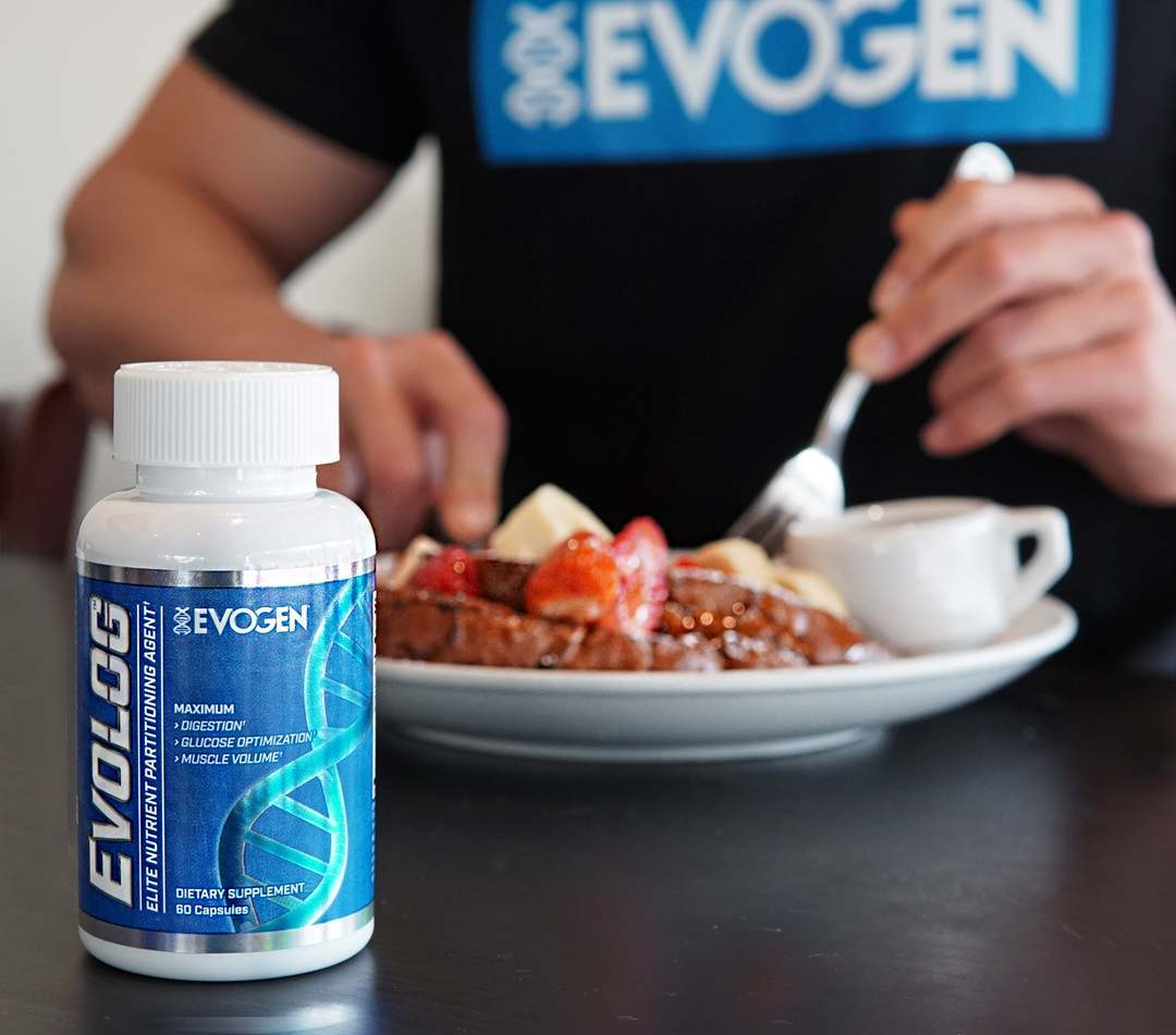 Athlete eating french toast breakfast behind a bottle of Evolog