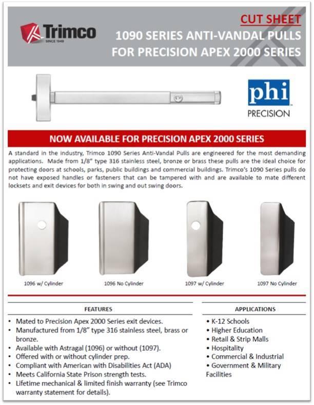 1090 Series Anti-Vandal Pulls Precision Apex 2000 Series