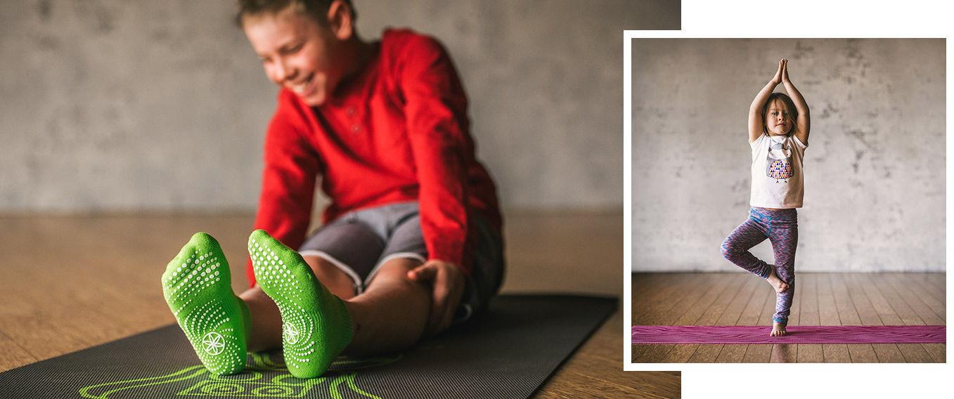 Yoga mats and balance balls for children