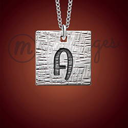 Silver Square Hammered Initial Necklace