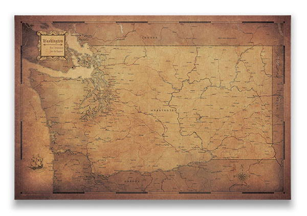 Washington Push pin travel map golden aged