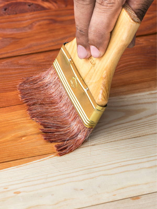 staining wood with brush