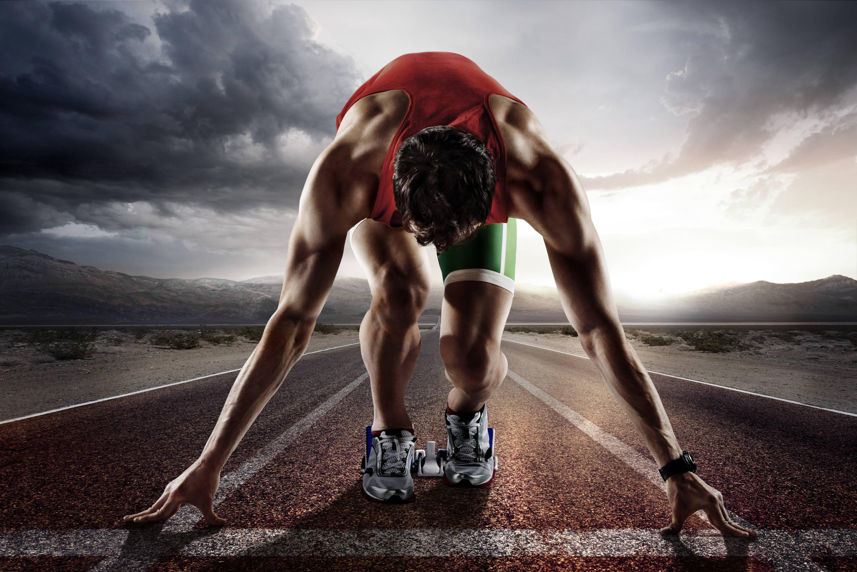 man in track start