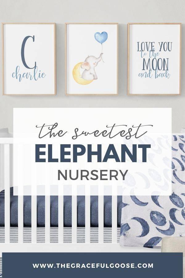 Idea board for a navy blue elephant nursery for a baby boy